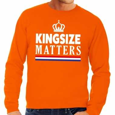 Oranje kingsize matters sweater voor heren