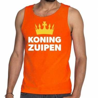 Oranje koning zuipen tanktop / mouwloos shirt voor he