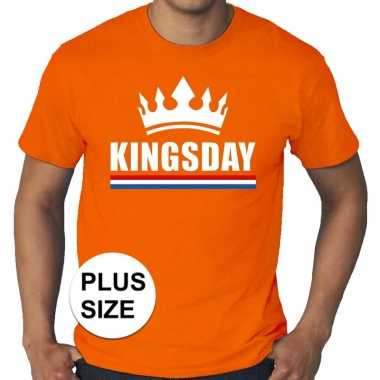 Oranje koningsdag/ kingsday met kroon grote maten shirt heren