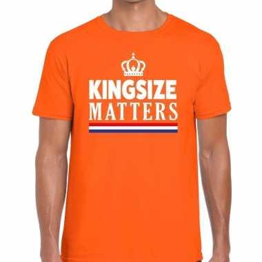 Oranje koningsdag kingsize matters t-shirt voor heren