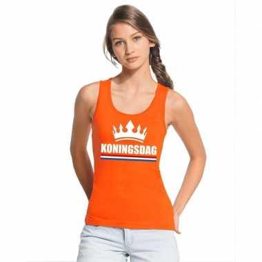 Oranje koningsdag kroon tanktop dames