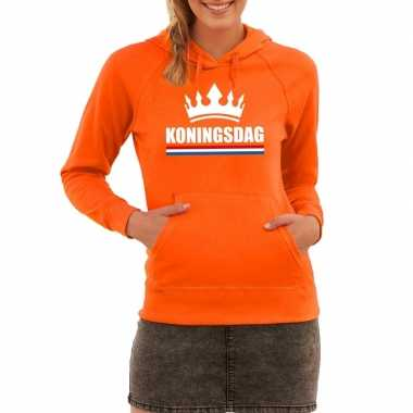 Oranje koningsdag met een kroon hoodie dames