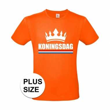 Oranje koningsdag met kroon grote maten shirt heren
