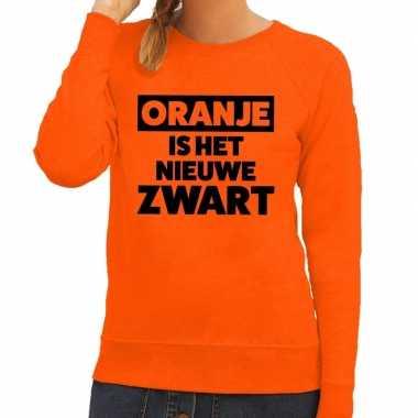 Oranje koningsdag oranje is het nieuwe zwart sweater dames