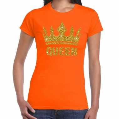 Oranje koningsdag queen shirt met gouden glitters en kroon dames