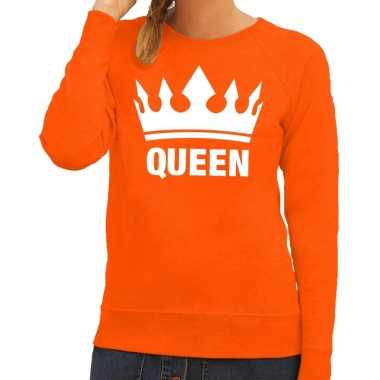 Oranje koningsdag queen sweater dames