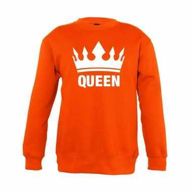 Oranje koningsdag queen sweater kinderen