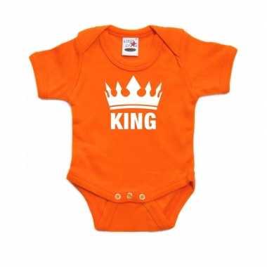 Oranje koningsdag romperje king met kroon baby