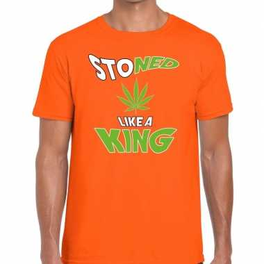 Oranje koningsdag stoned like a king t-shirt heren