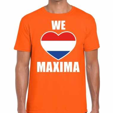 Oranje koningsdag we love maxima t-shirt voor heren
