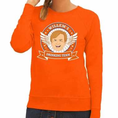 Oranje koningsdag willem drinking team sweater dames