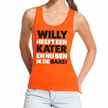 Oranje koningsdag willy heeft een kater tanktop dames