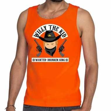Oranje koningsdag willy the kid tanktop heren
