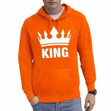 Oranje kroon met king hoodie heren
