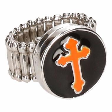 Oranje kruis chunk ring voor volwassenen