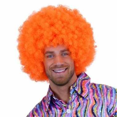 Oranje krulletjes pruik neon