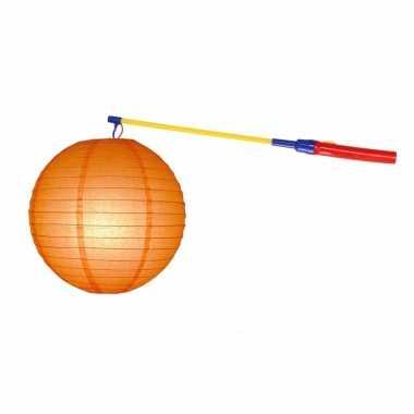 Oranje lampion 25 cm met lampionstokje