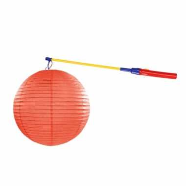 Oranje lampion 35 cm met lampionstokje