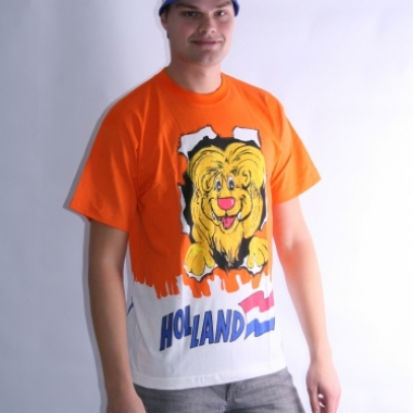 Oranje leeuwen t-shirt dubbel print