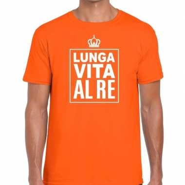 Oranje lunga vita al re italiaans t-shirt heren