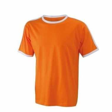 Oranje mannen shirt met witte rand