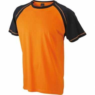 Oranje met zwart heren t-shirt van katoen