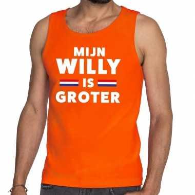 Oranje mijn willy is groter tanktop / mouwloos shirt voor heren