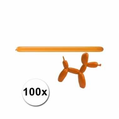 Oranje modelleerballonnetjes 100 stuks