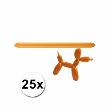 Oranje modelleerballonnetjes 25 stuks