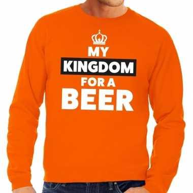 Oranje my kingdom for a beer sweater voor heren