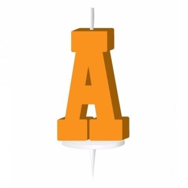 Oranje naam kaarsje letter a