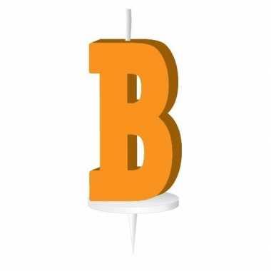 Oranje naam kaarsje letter b