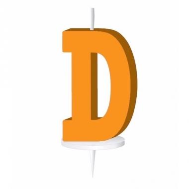 Oranje naam kaarsje letter d