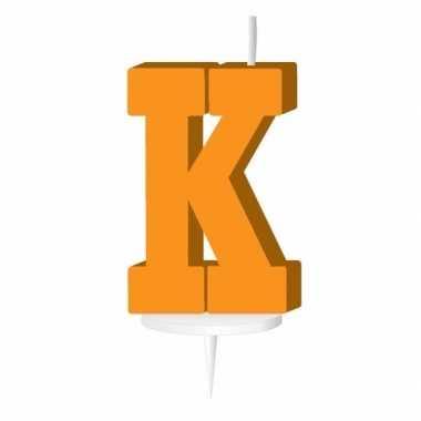 Oranje naam kaarsje letter k