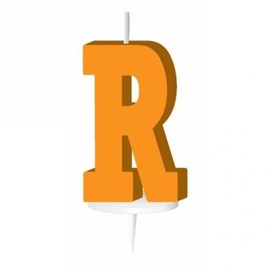 Oranje naam kaarsje letter r