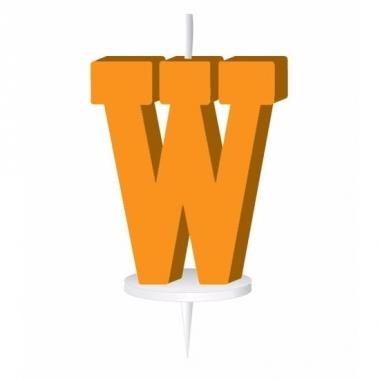 Oranje naam kaarsje letter w