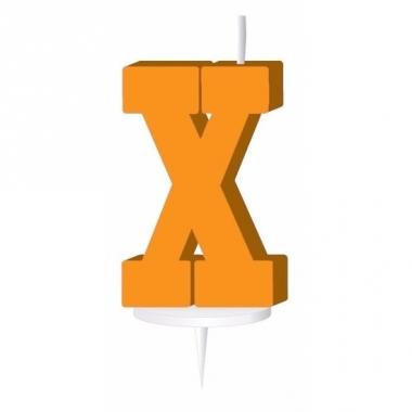 Oranje naam kaarsje letter x
