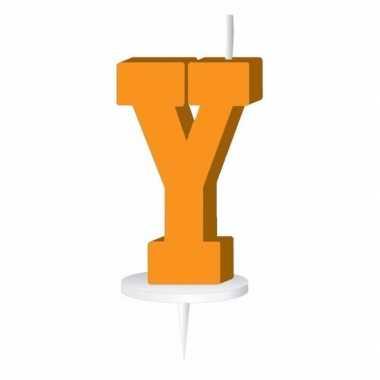Oranje naam kaarsje letter y
