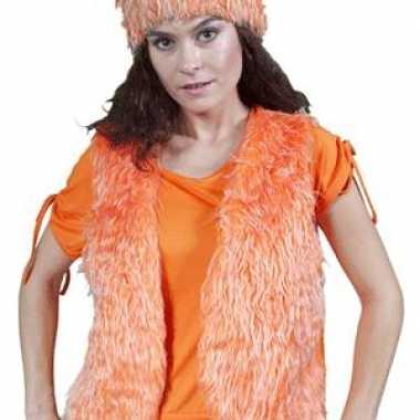 Oranje nep bont vestje zonder mouw