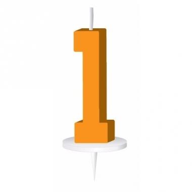 Oranje nummer kaarsje cijfer 1