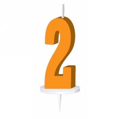 Oranje nummer kaarsje cijfer 2