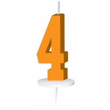 Oranje nummer kaarsje cijfer 4
