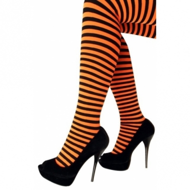 Oranje nylon panty met streep