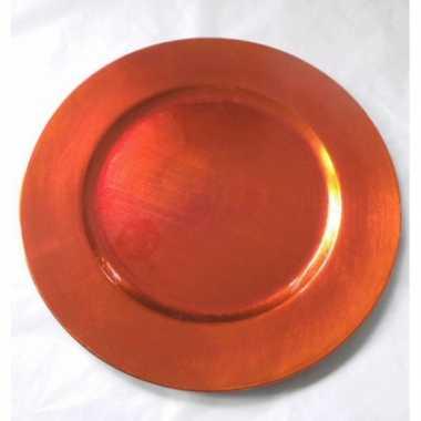 Oranje onderzetbord rond 33 cm