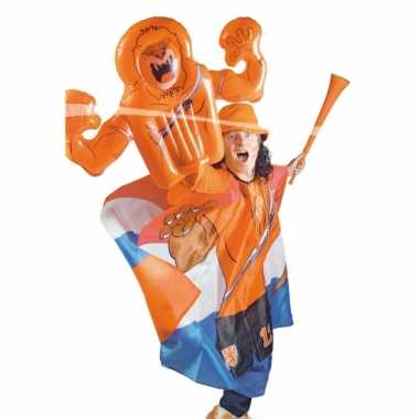 Oranje opblaasbare leeuwen hand