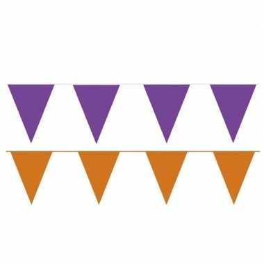 Oranje/paarse feest punt vlaggetjes pakket 120 meter