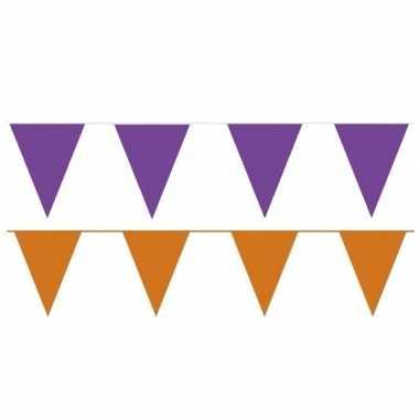 Oranje/paarse feest punt vlaggetjes pakket 200 meter