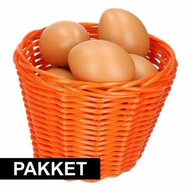 Oranje paasmandje met eieren naturel 14 cm