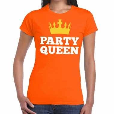 Oranje party queen t-shirt voor dames
