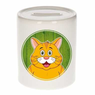 Oranje poezen kado spaarpot voor kinderen 9 cm